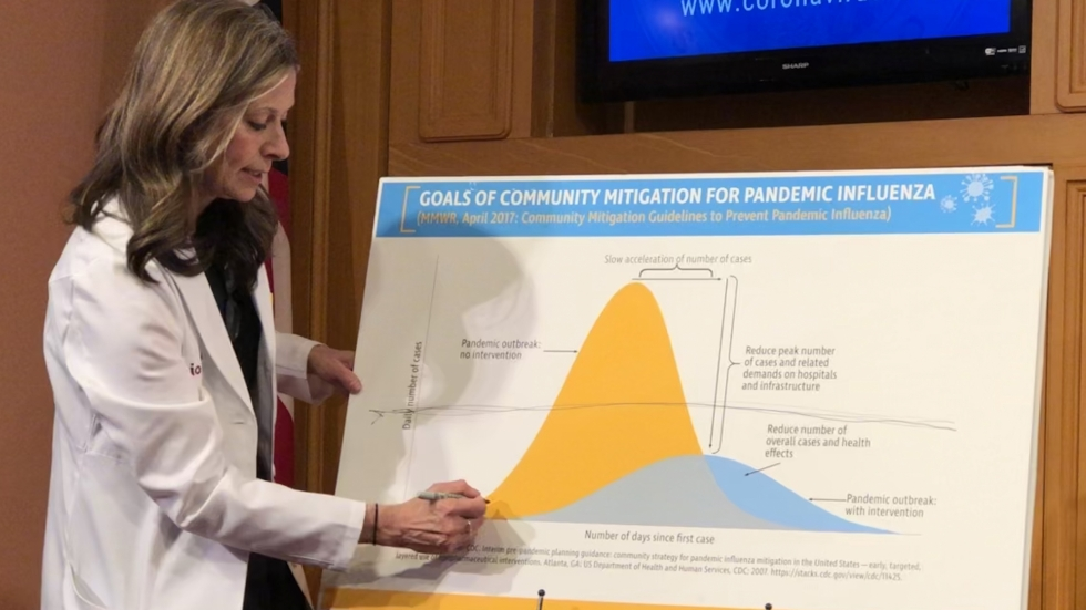 """Ohio Dept. of Health Director Dr. Amy Acton points to a graph labeled, """"Goals of Community Mitigation for Pandemic Influenza."""""""