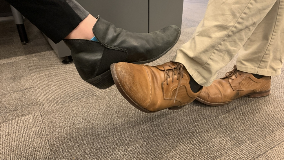 Dr. Amy Ray of MetroHealth says foot taps are a new way to greet people that allow people to not spread germs. [Anna Huntsman / ideastream]