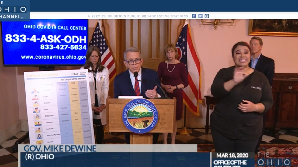 Ohio Gov. Mike DeWine at a podium in the Statehouse for a daily coronavirus briefing
