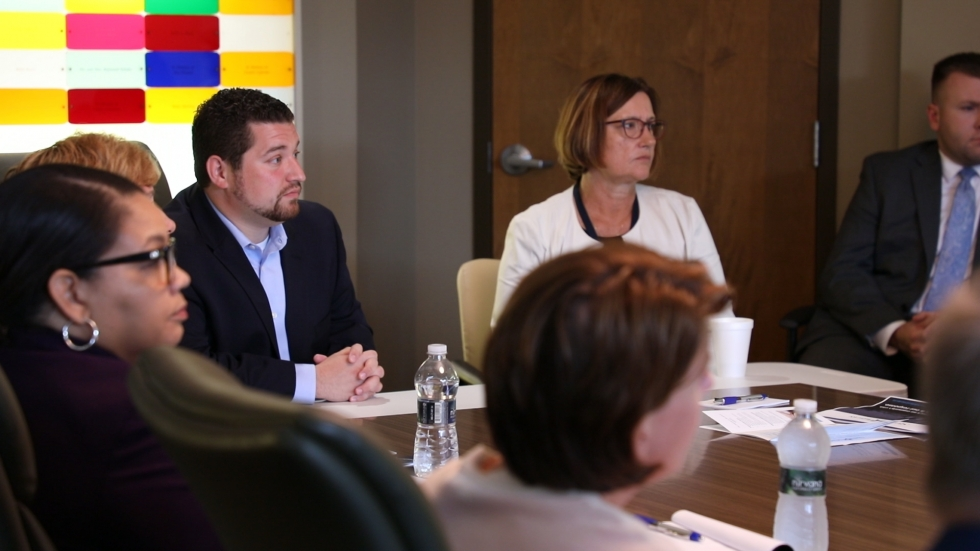 Stella Maris director Daniel Lettenberger-Klein listens at a meeting with state officials and others in 2019.