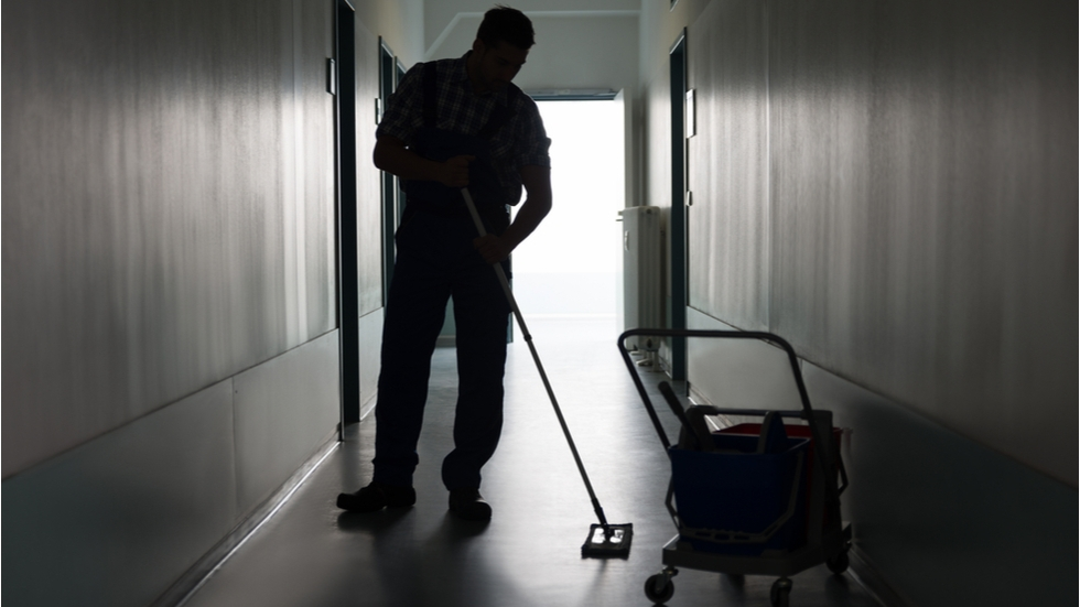 Janitors are on the front lines of the pandemic, cleaning and disinfecting offices that are still open for business during Ohio's stay-at-home order.
