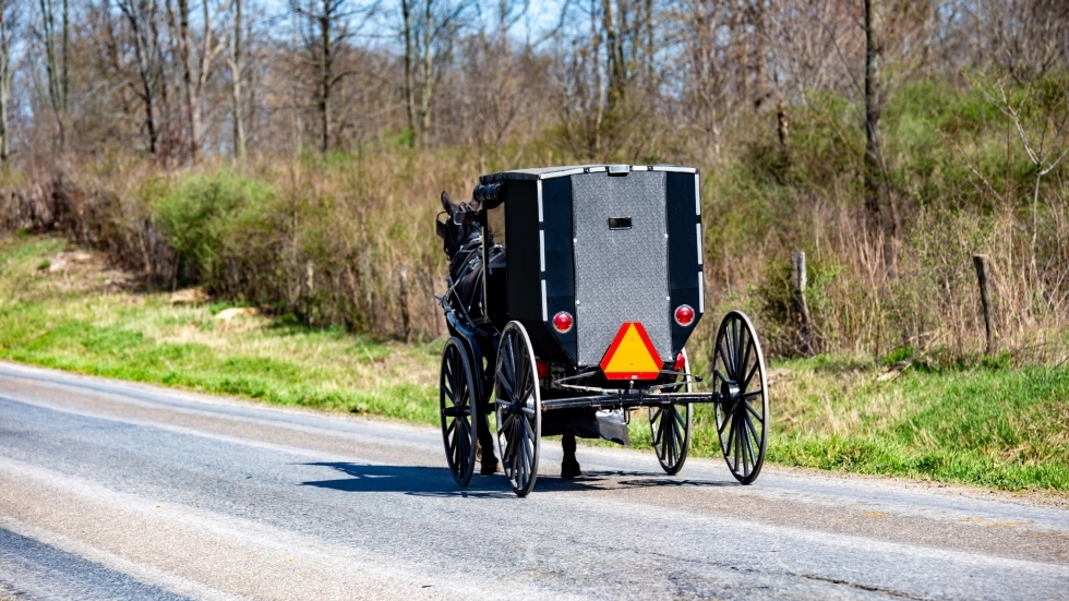An Amish buggy heads down a road in Holmes County. The county's top health official says the health department is spreading the word about COVID-19 to the Amish community.