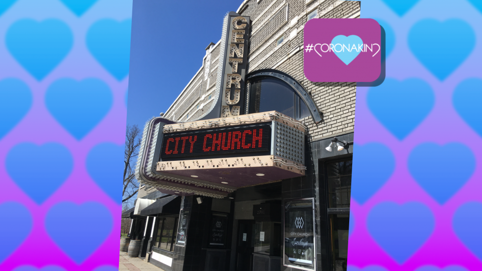 City Church electronic billboard at the Centrum theater in Cleveland Heights.