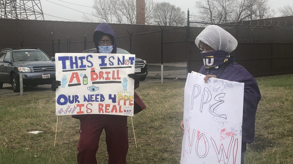 Members of the local chapter of the Service Employees International Union (SEIU) stood on Carnegie Ave. near 69th street to protest lack of PPE [ Marlene Harris-Taylor / ideastream]