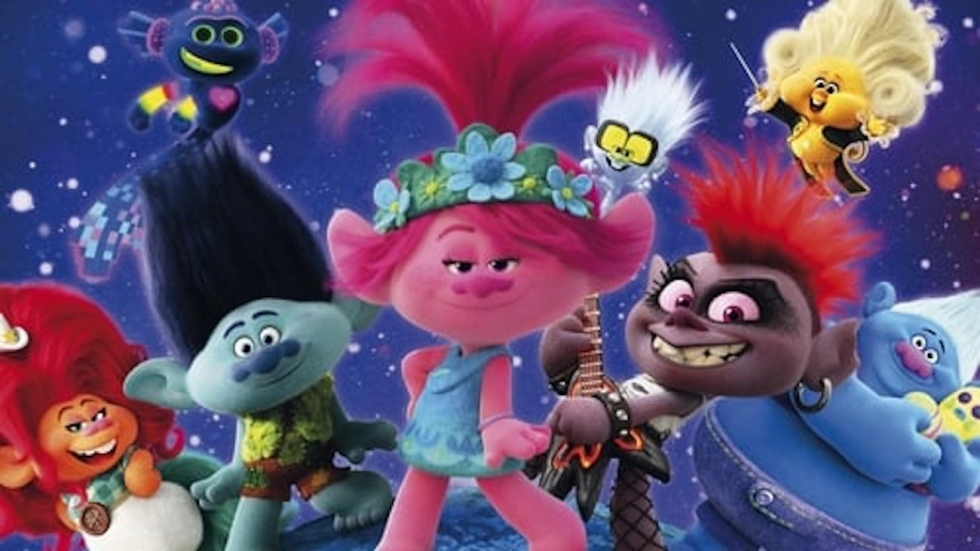 """A candy-colored assortment of trolls pose in a publicity shot for """"Trolls World Tour"""""""
