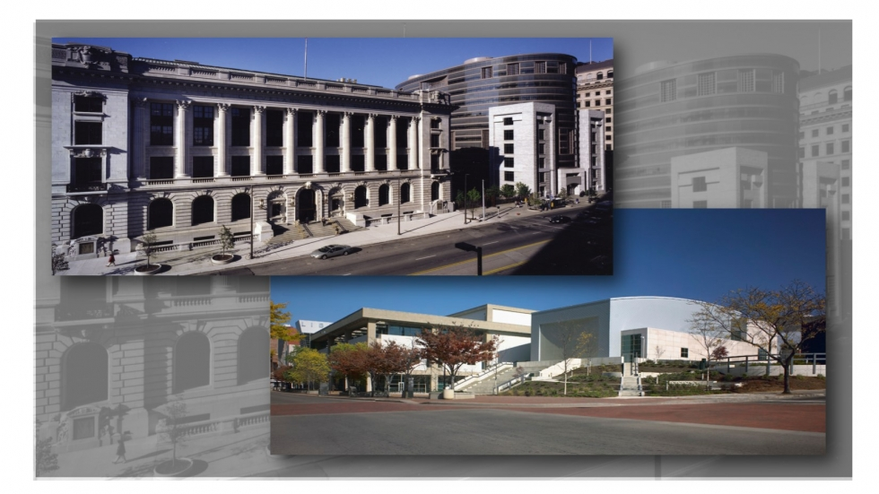 picture of Cleveland Public Library Main Library (upper left) and Akron-Summit County Public Library (lower right) [Cleveland Public Library-Maguire Photo/Akron-Summit County Public Library]