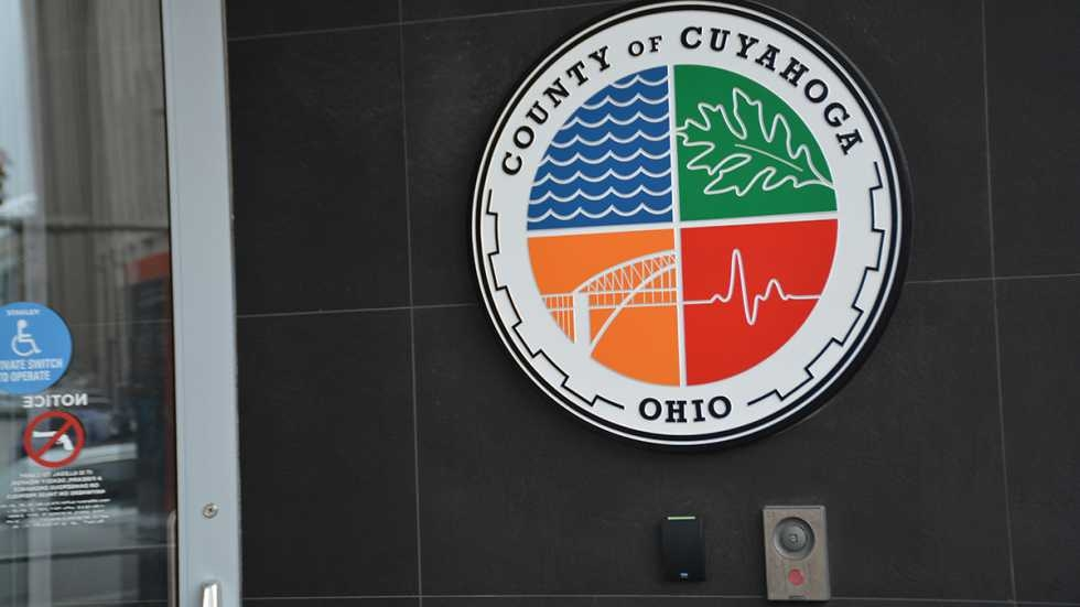 Seal of Cuyahoga County outside the administration building in Downtown Cleveland.