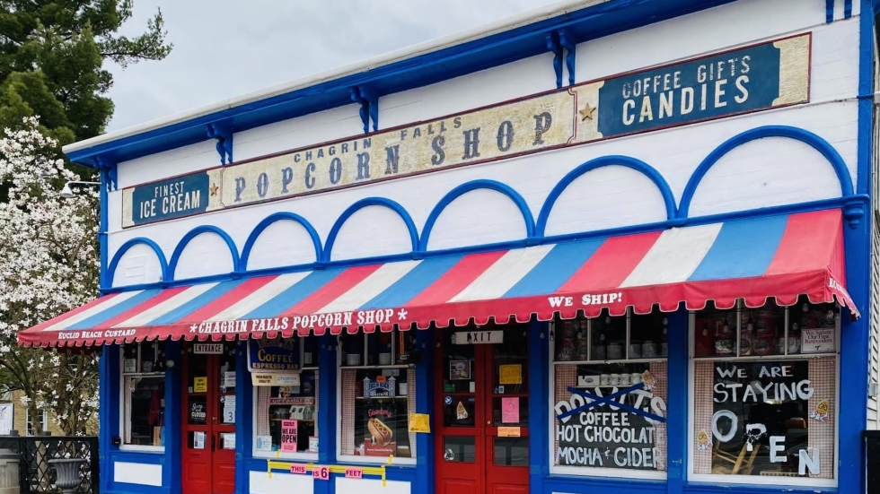 This historic popcorn shop sits in the town of Chagrin Falls. [Chagrin Falls Popcorn Shop]