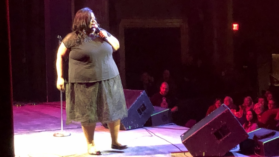 Cleveland comedian Juanda Mayfield on stage at the Agora.
