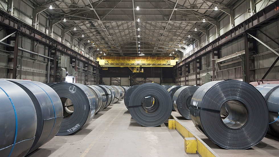 Rows of coiled steel at an ArcelorMittal plant.