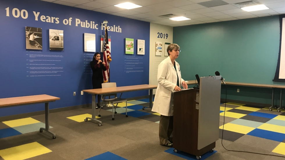 Cuyahoga County Board of Health Medical Director Dr. Heidi Gullett speaks at a March 27 press conference.