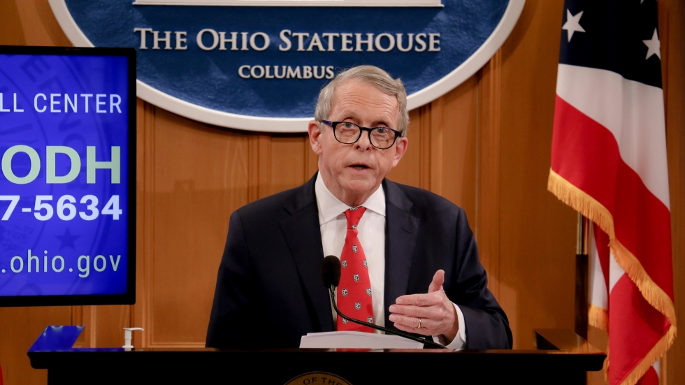 Ohio Gov. Mike DeWine discusses the state's coronavirus response on April 14.