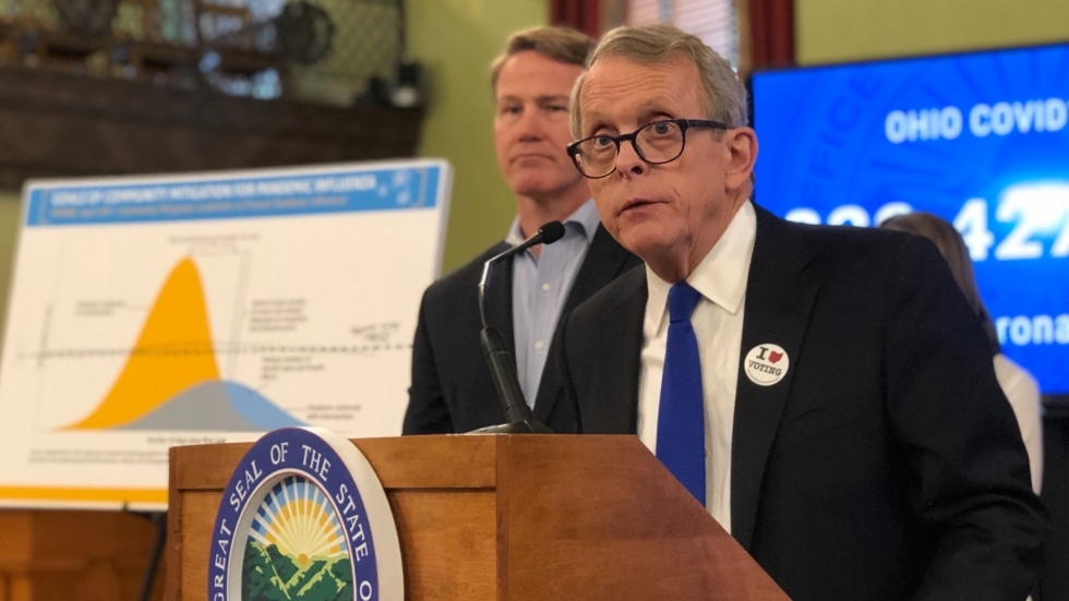 Gov. Mike DeWine at a Friday news briefing.