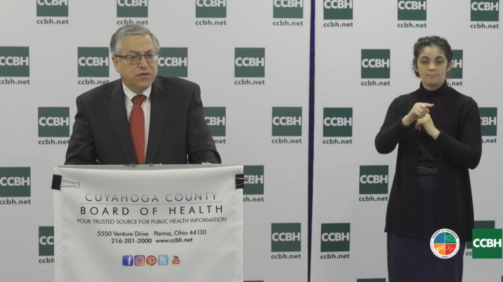 Cuyahoga County Executive Armond Budish at a county health briefing Friday