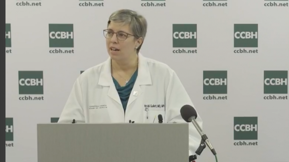 Cuyahoga County Medical Director, Dr. Heidi Gullett, speaking at the county media briefing May 15, 2020