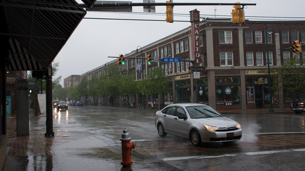 Cleveland's Gordon Square on a rainy spring day.