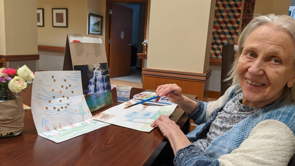 Blanche Vanis creates art inspired by a drawing from a preschool pen pal.