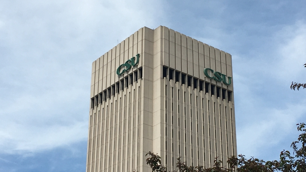 Cleveland State University tower near downtown Cleveland