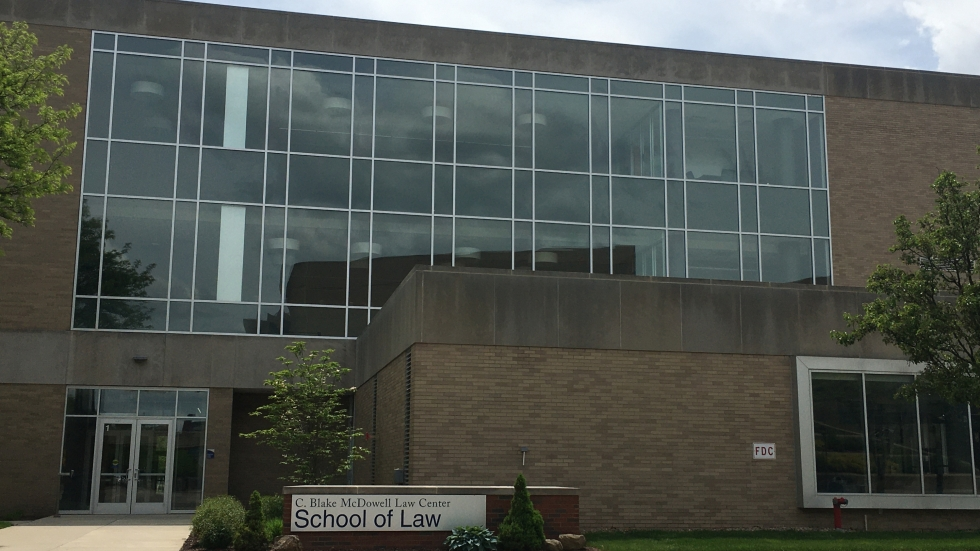 The front of the University of Akron School of Law building with signage
