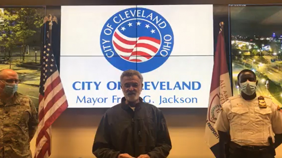 Mayor Frank Jackson addresses the violence that occured Saturday in Cleveland. [City of Cleveland]