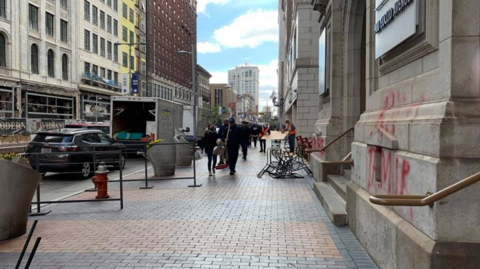 damage on Downtown Cleveland's Euclid Avenue after protests turned violent May 30