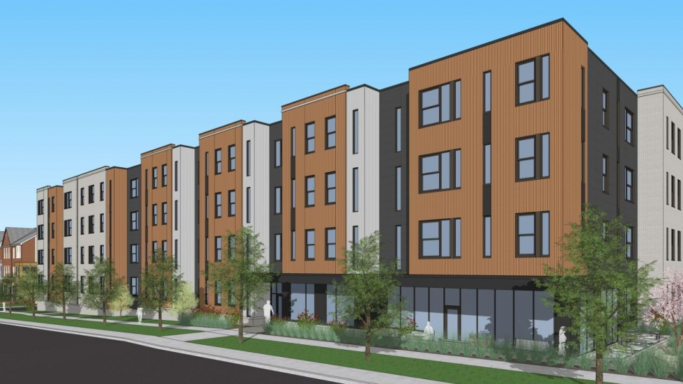 An architectural rendering shows planned new development along Woodland Avenue.