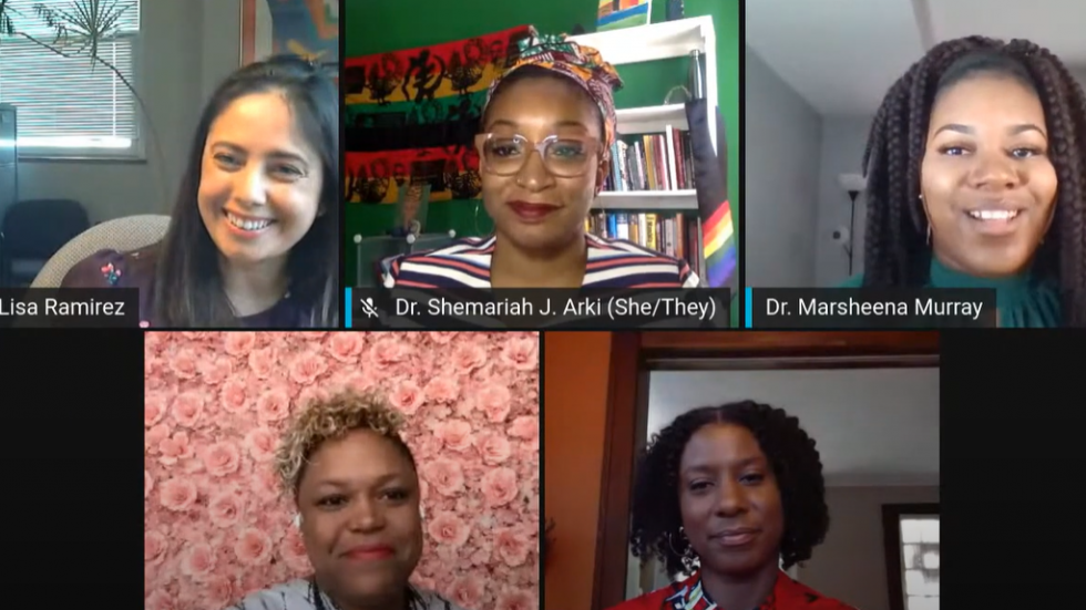 In a virtual City Club of Cleveland forum, health officials and community leaders focused on black mental health. Clockwise from top: Dr. Lisa Ramirez, Dr. Shemariah Arki, Dr. Marsheena Murray, Habeebah Grimes, Reverend Courtney Clayton Jenkins. [City Club of Cleveland]
