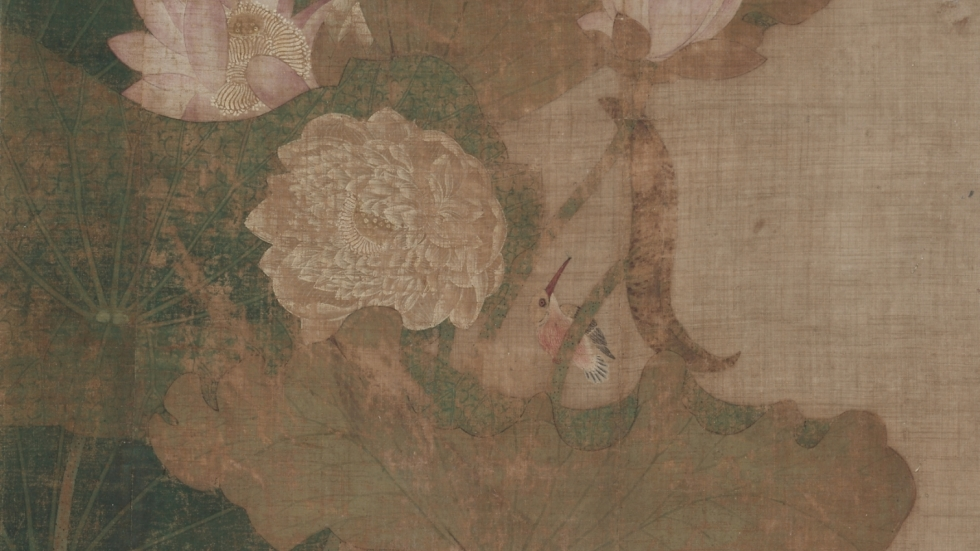 """photo of  hanging scroll """"Lotuses, Insects, and Birds,"""" 1800s. Korea, Joseon dynasty (1392-1910) [Cleveland Museum of Art]"""
