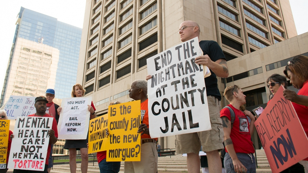 Protesters call for reforms at the Cuyahoga County Jail in 2019.
