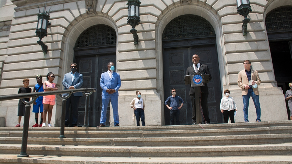 Cleveland City Council members hail the passage of legislation declaring racism a public health crisis at a June news conference.
