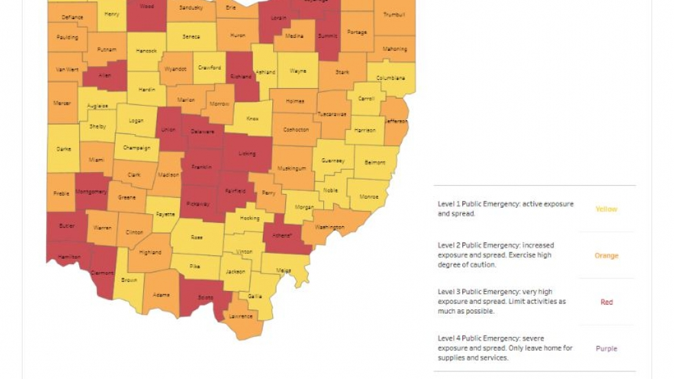 This map shows the risk assessment level for each county . [Ohio Department of Health]