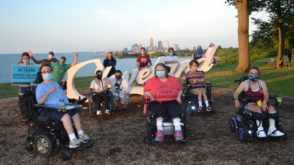 Youth Challenge Disability Community Alumni in front of Cleveland Sign
