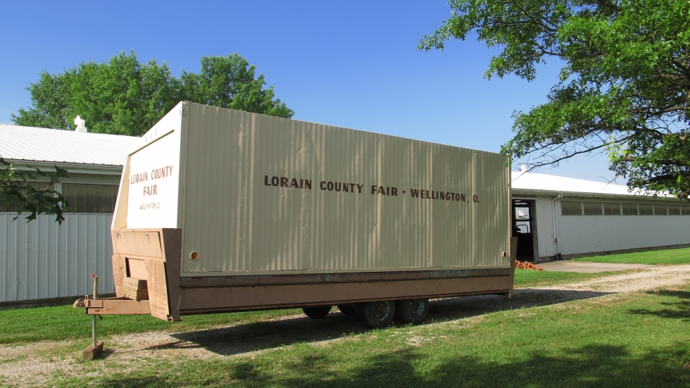 A trailer outside the beef barn at the Lorain County fairgrounds.