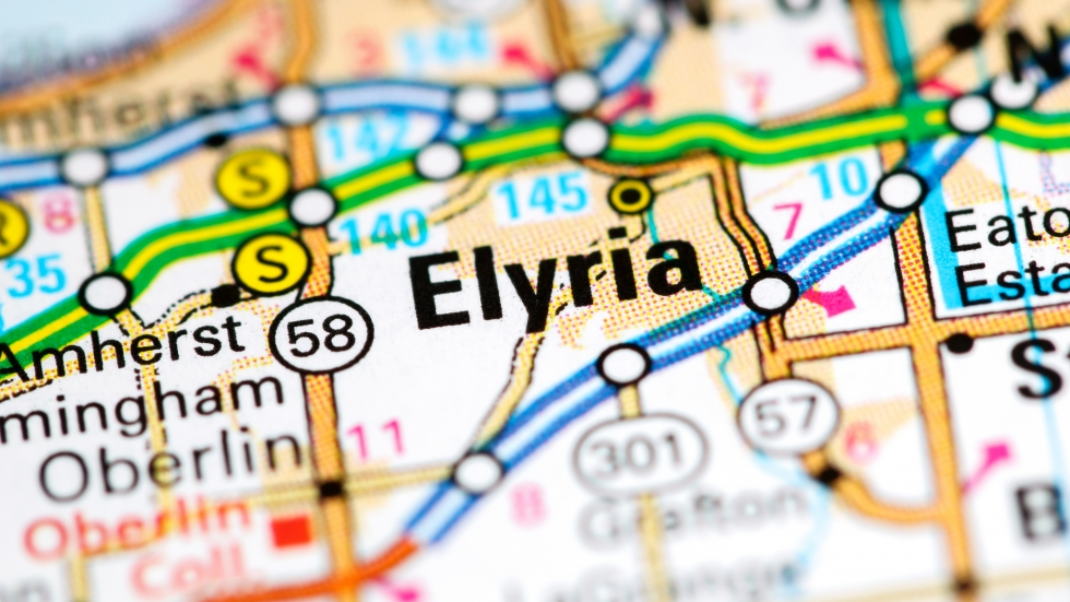 Elyria is in Lorain County, west of Cleveland, and about 15 miles from UH St. John Medical Center in Westlake. [SevenMaps / Shutterstock]