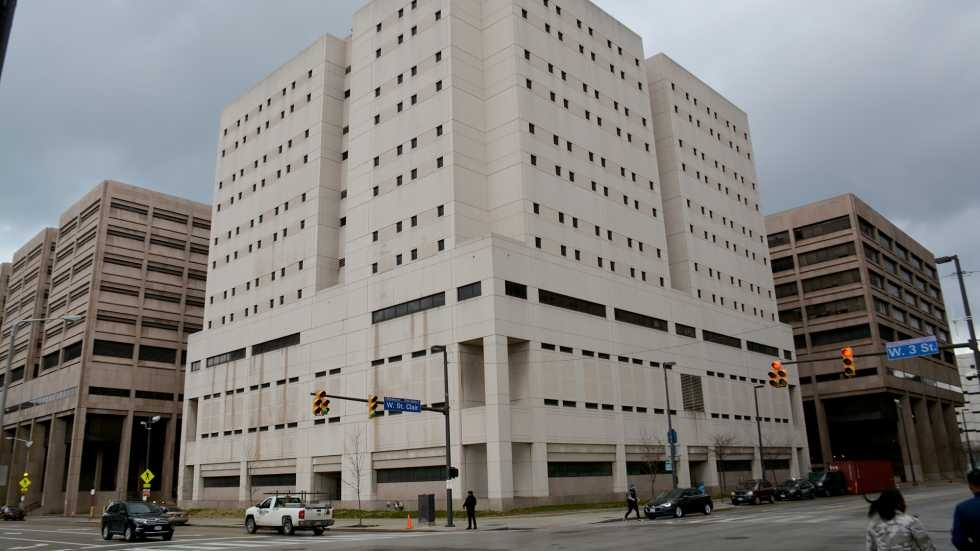 The exterior of the Cuyahoga County Jail.