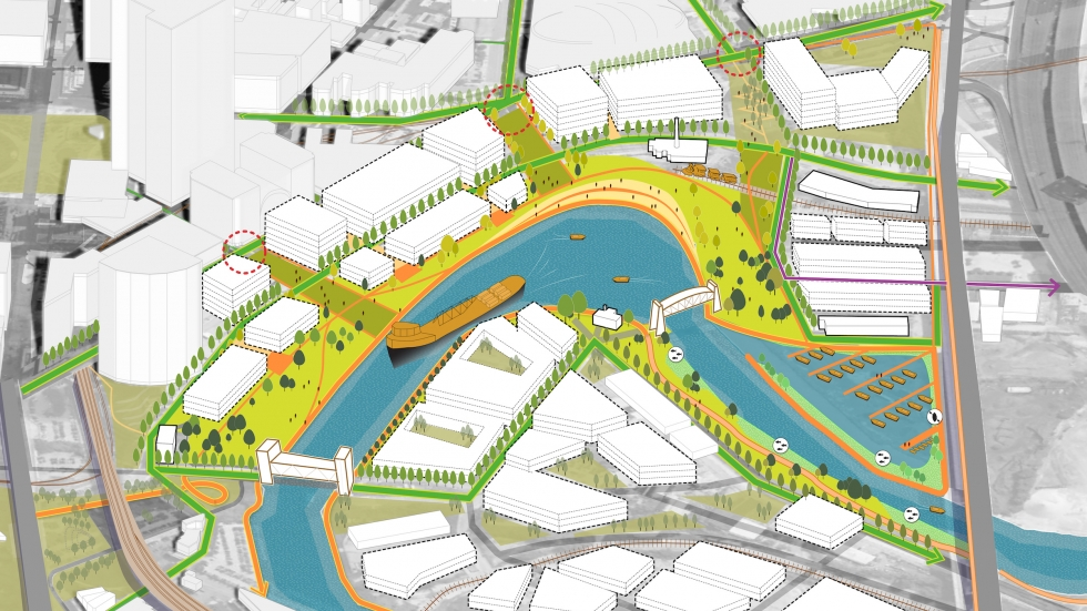 The Vision For the Valley effort wants easy access from the Tower City area to the river and a safe harbor for small vessels near Collision Bend (VFTV)