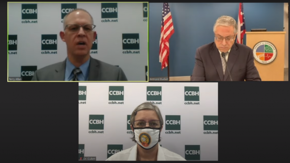 County officials address weekly COVID-19 data in a media briefing August 7, 2020. Clockwise from top left: Health Commissioner Terry Allan, Executive Armond Budish and Medical Director Dr. Heidi Gullett. [Cuyahoga County Board of Health]