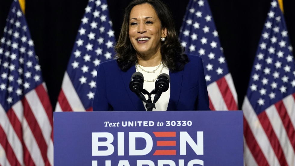 Sen. Kamala Harris (D-Calif.) speaks after Democratic presidential candidate former Vice President Joe Biden introduced her as his running mate during a campaign event at Alexis Dupont High School in Wilmington, Del., Aug. 12, 2020