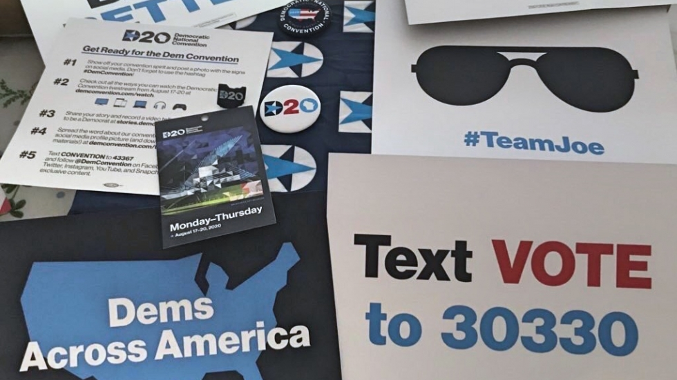 Democratic National Convention delegate swag for the 2020 virtual convention.