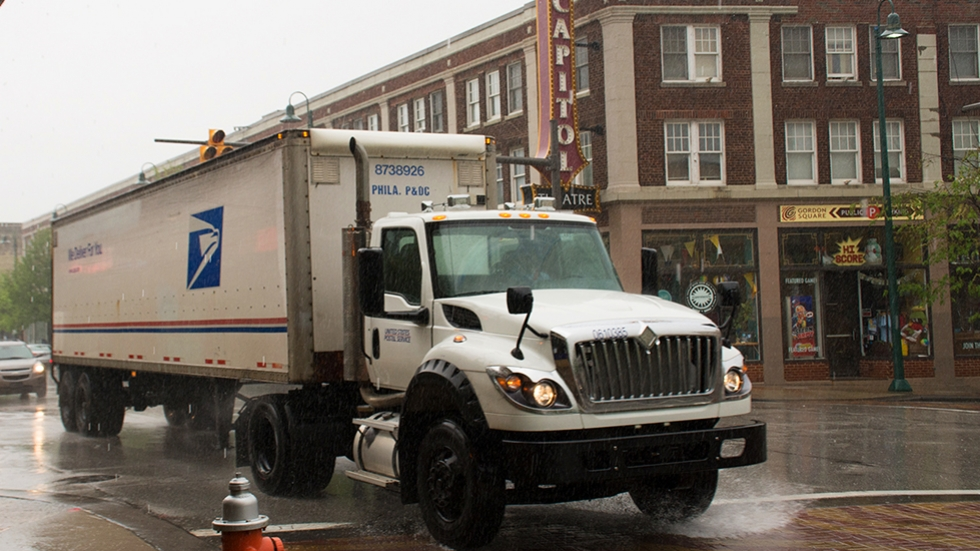 A U.S. Postal Service in Cleveland's Gordon Square Arts District in the rain in May