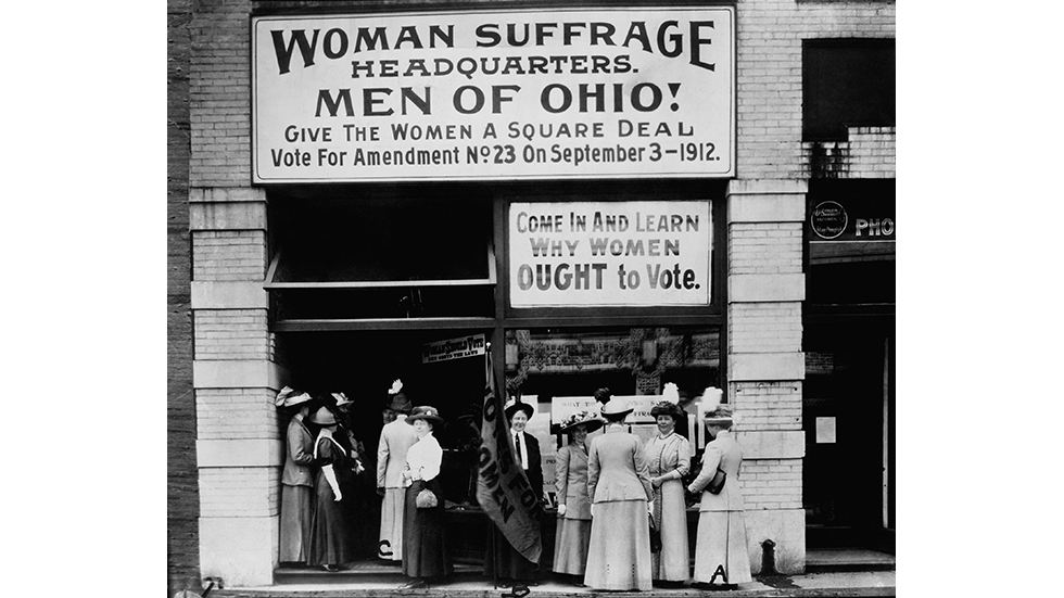 historic photo of Woman Suffrage Headquarters in Cleveland, Ohio in 1912.
