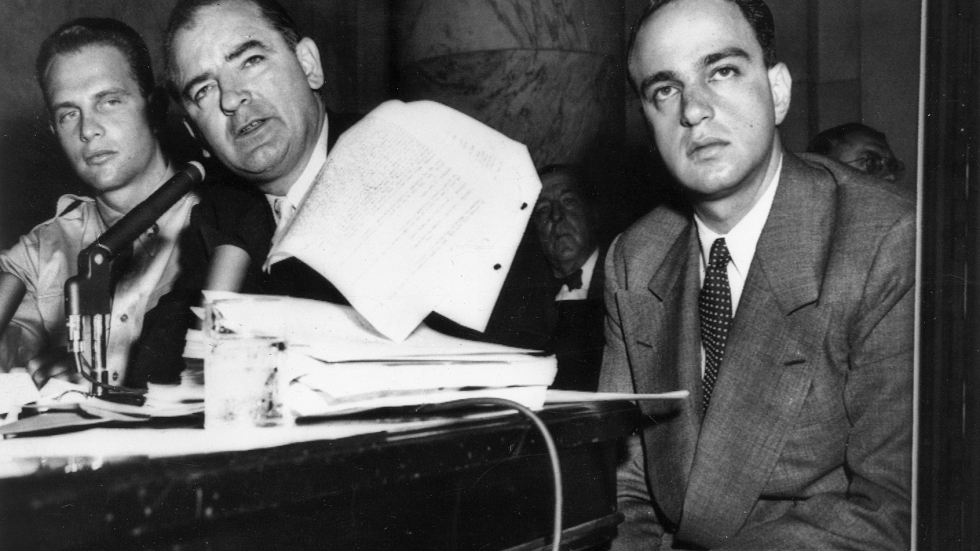 Photo of 1954 Army-McCarthy hearings. Left to right: G. David Schine, Senator McCarthy, and Roy Cohn. [Wisconsin Historical Society/Houghton Mifflin Harcourt]