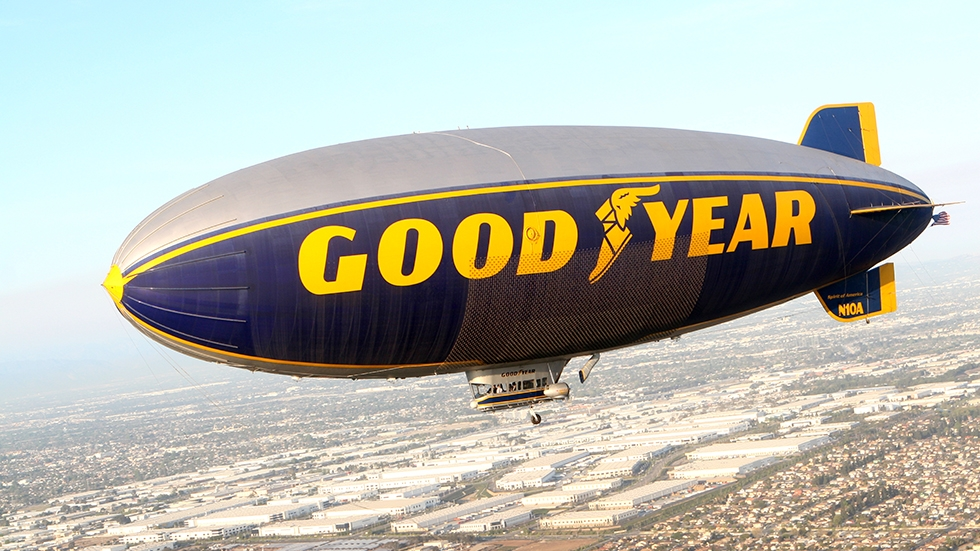 The Goodyear blimp over Carson California in August 2014.