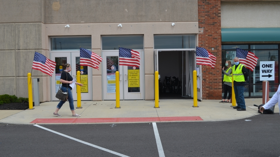 A voter enters the Franklin County Voter Center earlier this year.