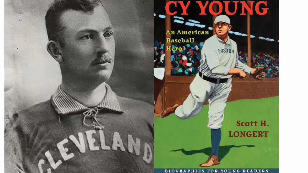 Cy Young in his Cleveland Spiders uniform c. 1893 / Book cover