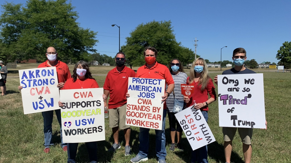 Demonstrators supporting Goodyear workers at a Thursday rally outside the United Steelworkers Union Local 2 headquarters