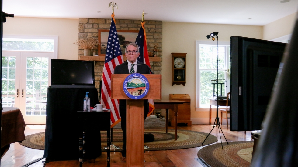Ohio Gov. Mike DeWine delivers a regular coronavirus update from his home in Cedarville Aug. 13.