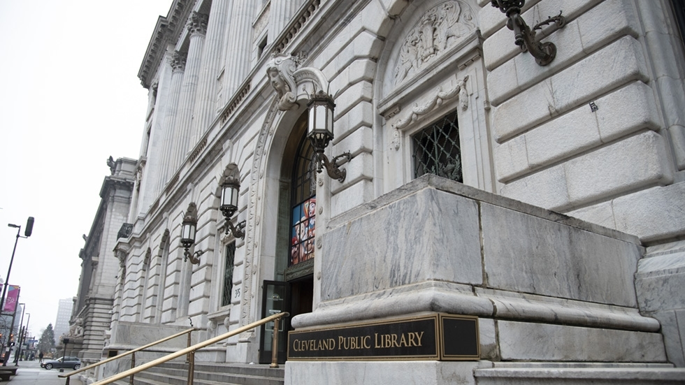 The exterior of Cleveland Public Library's main entrance.