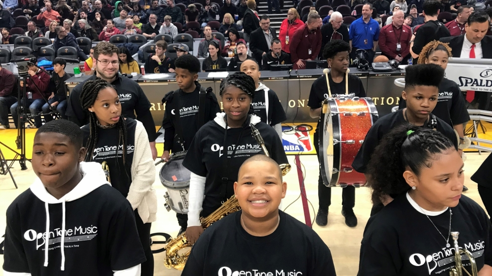 Photo of Open Tone Music Students preparing to play at Cleveland Cavaliers game [Open Tone Music]
