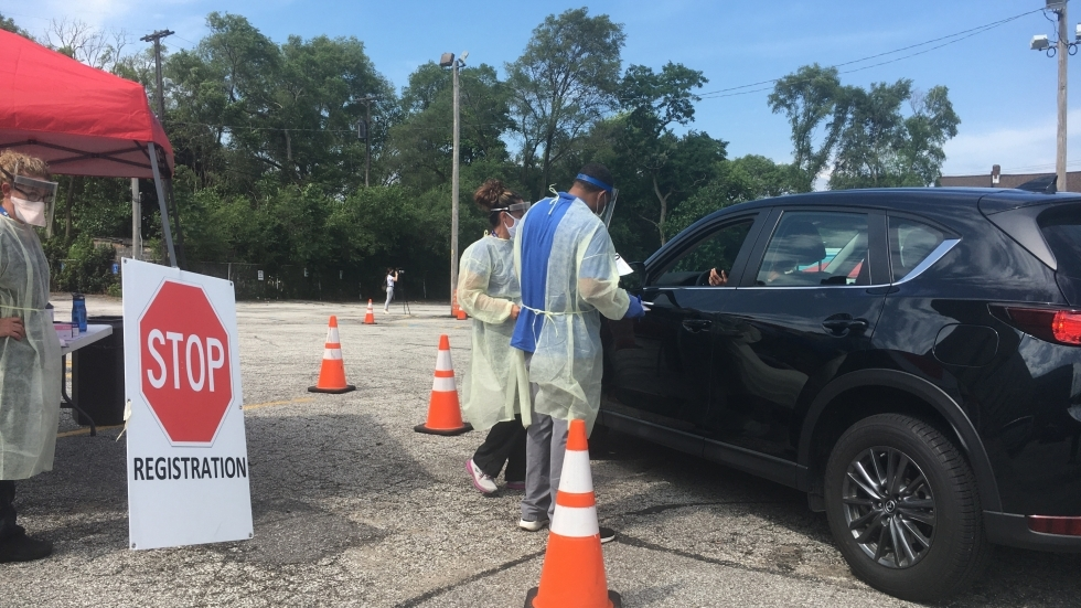MetroHealth and the Cuyahoga County Board of Health ran a drive-up testing site in Cleveland's Fairfax neighborhood in July. [Lisa Ryan / ideastream]